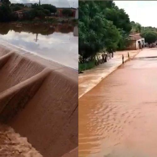 Fortes chuvas causam cheia em riachos e barragem transborda em Vera Mendes