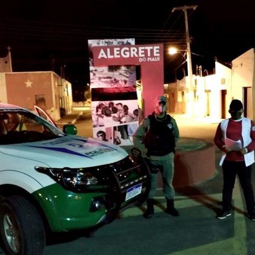 PM e Vigilância fiscalizam cumprimento das medidas de prevenção contra a Covid-19 em Alegrete do Piauí