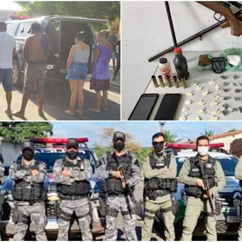 PM de Simplício Mendes apreende arma e drogas e conduz seis pessoas