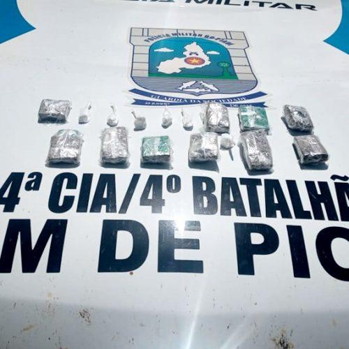 Polícia encontra drogas dentro de balde enterrado em matagal na zona rural de Pio IX