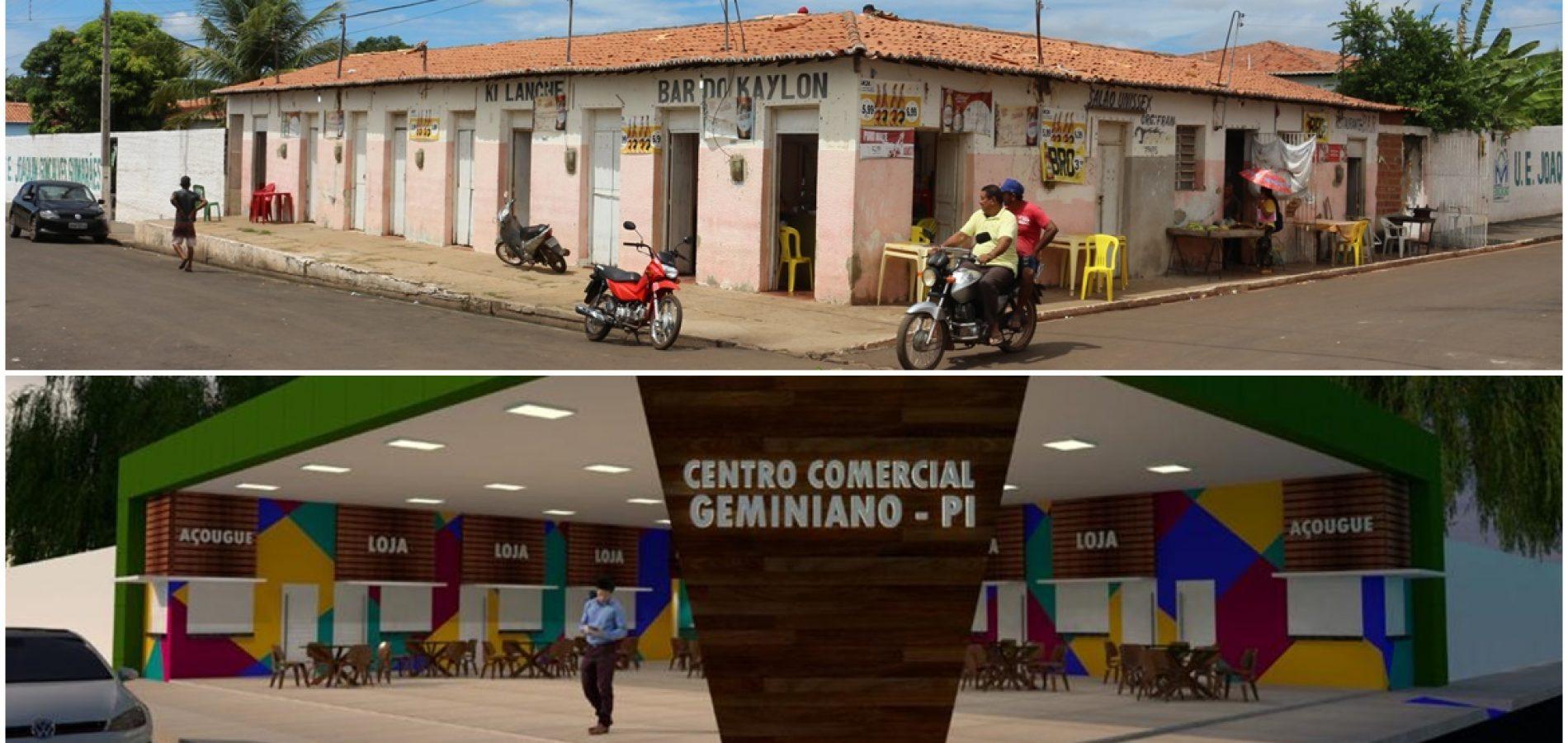 Geminiano vai ganhar moderno Centro Comercial; prefeito visita obras e apresenta projeto