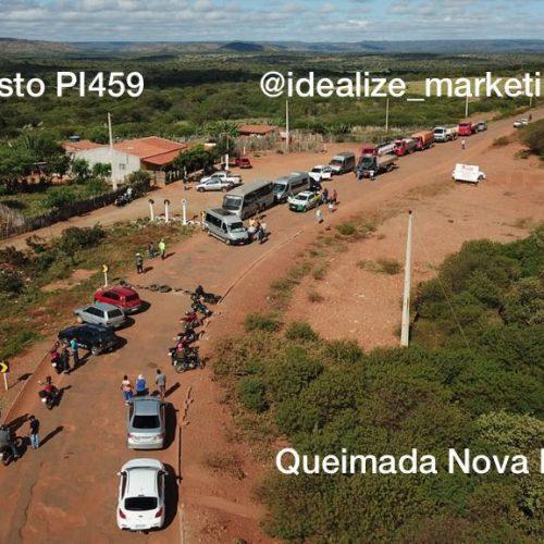 Motoristas bloqueiam PI-459 em Queimada Nova em protesto contra péssimas condições da rodovia