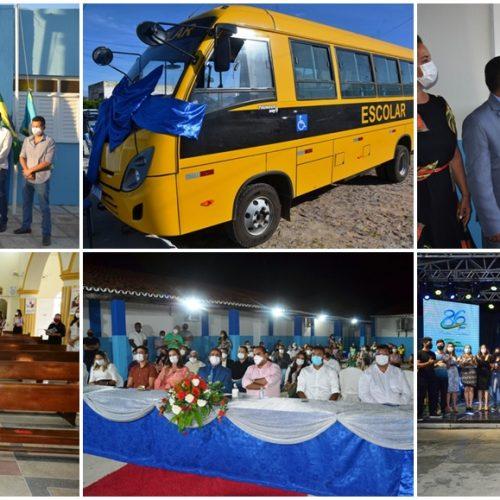Ato cívico, inaugurações, entrega de ônibus, missa e live cultural marcam o 86º aniversário de Fronteiras; fotos